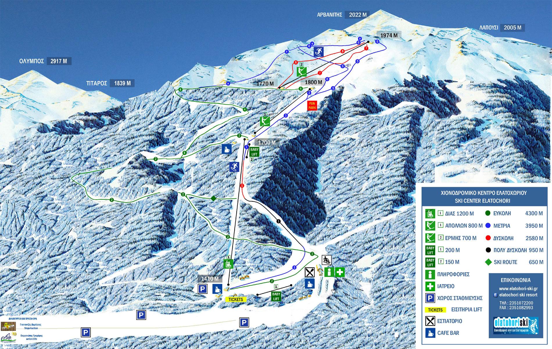 Elatochori Slopes-Ski Map / Χάρτης Πιστών-Σκι Ελατοχώρι