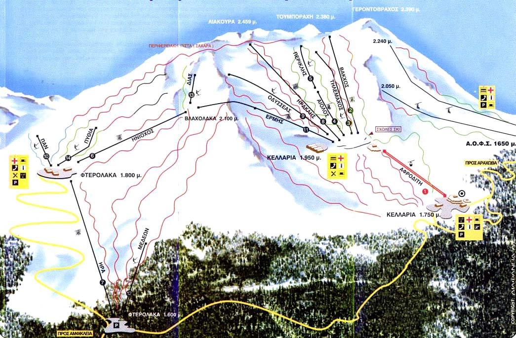 Gerontovraxos Slopes-Ski Map / Χάρτης Πιστών-Σκι Γεροντόβραχος