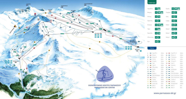 Parnassos Slopes-Ski Map / Χάρτης Πιστών-Σκι Παρνασσός