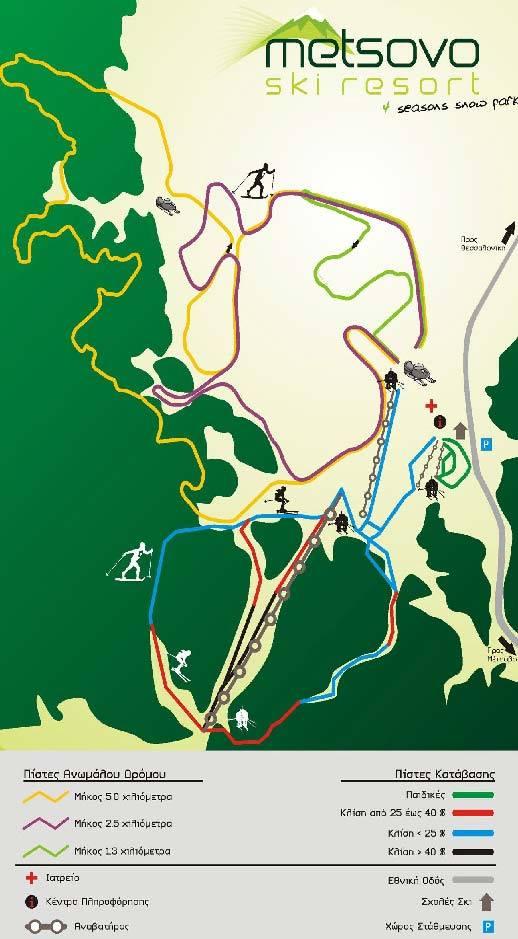 Χιονοδρομικό Κέντρο Πολιτσίες Προφήτη Ηλία Μετσόβου Χάρτης