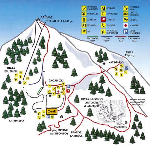 Lailias Slopes-Ski Map / Χάρτης Πιστών-Σκι Λαιλιάς