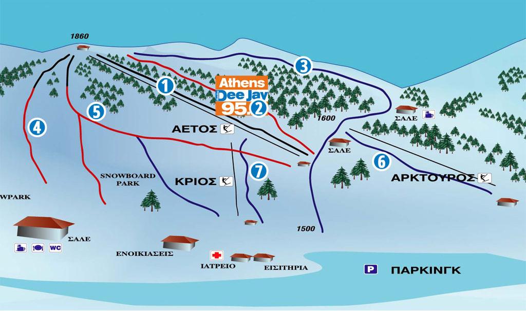 Mainalo Slopes-ski Map / Χάρτης Πιστών-Σκι Μαίναλο