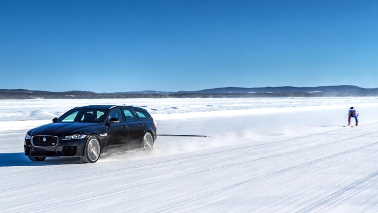 Jaguar XF Sportbrake | Graham Bell Guinness World Record 'Fastest Towed Man on Ski's'