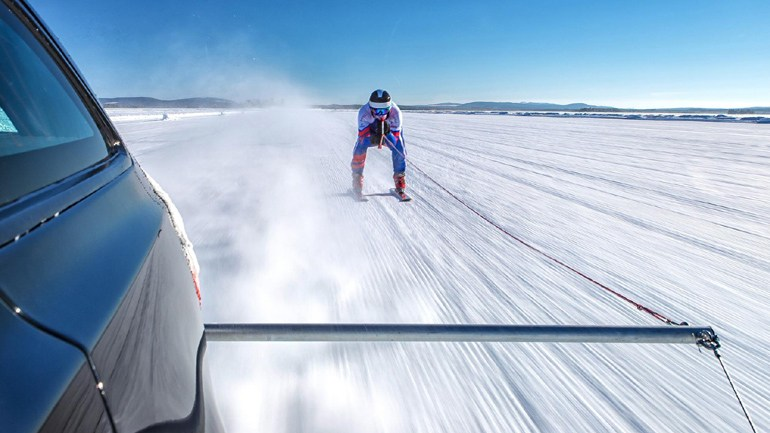 Jaguar XF Sportbrake | Graham Bell Guinness World Record 'Fastest Towed Man on Ski's'