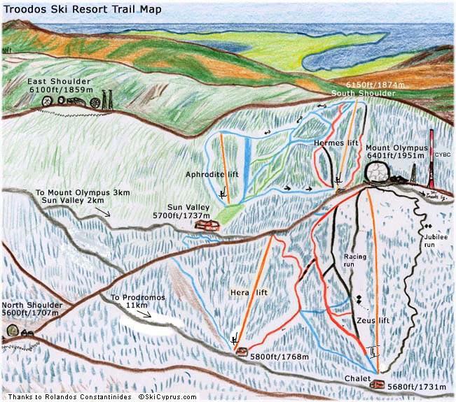 Χάρτης Χιονοδρομικού Κέντρου Τροόδους - Κύπρος