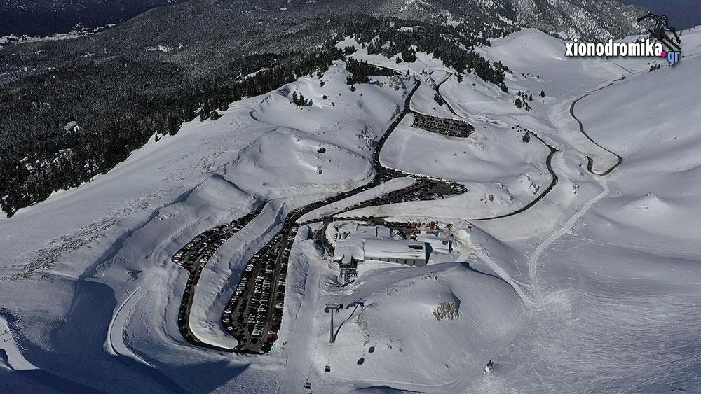 Χιονοδρομικό Κέντρο Παρνασσού aerial drone - xionodromika.gr